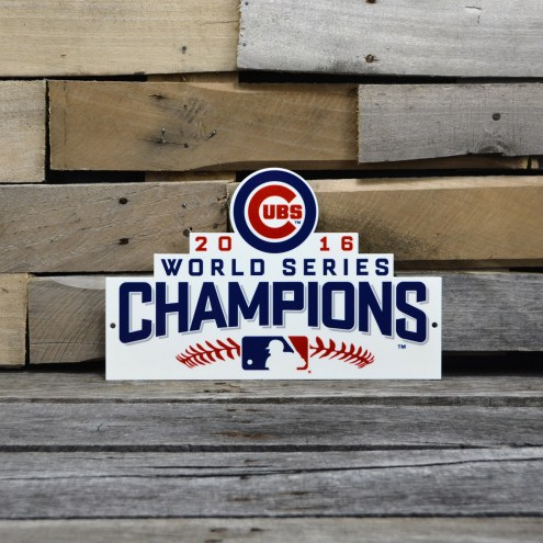 """Chicago Cubs 12"""" WS 2016 Steel Logo Sign"""