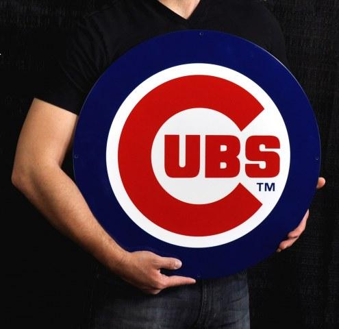 "Chicago Cubs 24"" Steel Logo Sign"