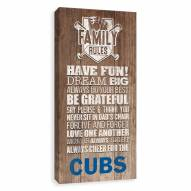 Chicago Cubs Family Rules Icon Wood Printed Canvas