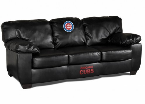 Chicago Cubs Black Leather Classic Sofa