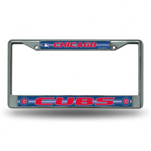 Chicago Cubs Chrome Glitter License Plate Frame