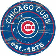 Chicago Cubs Distressed Round Sign