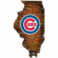 Chicago Cubs Distressed State with Logo Sign