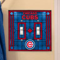 Chicago Cubs Glass Double Switch Plate Cover