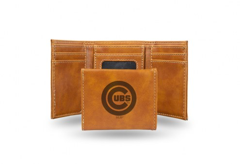 Chicago Cubs Laser Engraved Brown Trifold Wallet