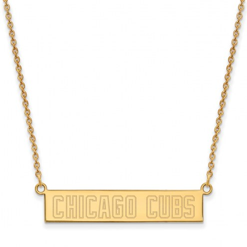 Chicago Cubs Sterling Silver Gold Plated Bar Necklace