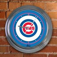 Chicago Cubs MLB Neon Wall Clock