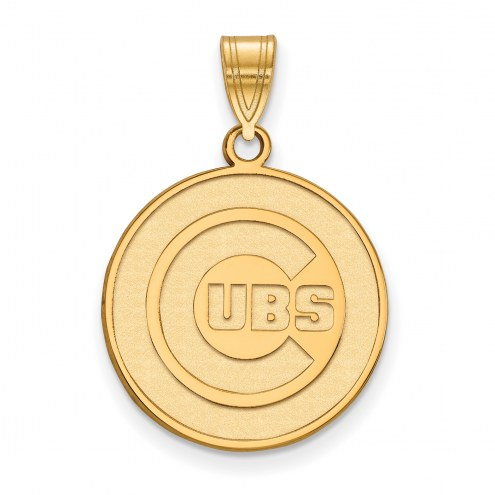 Chicago Cubs MLB Sterling Silver Gold Plated Large Pendant