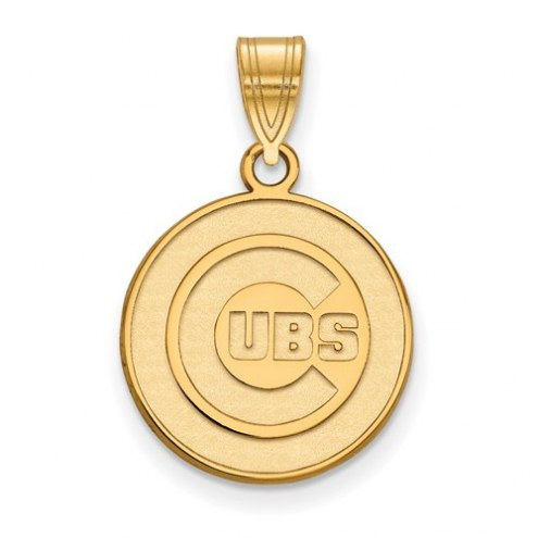 Chicago Cubs MLB Sterling Silver Gold Plated Medium Pendant