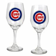 Chicago Cubs MLB 2-Piece Wine Glass Set
