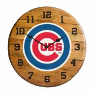 Chicago Cubs Oak Barrel Clock
