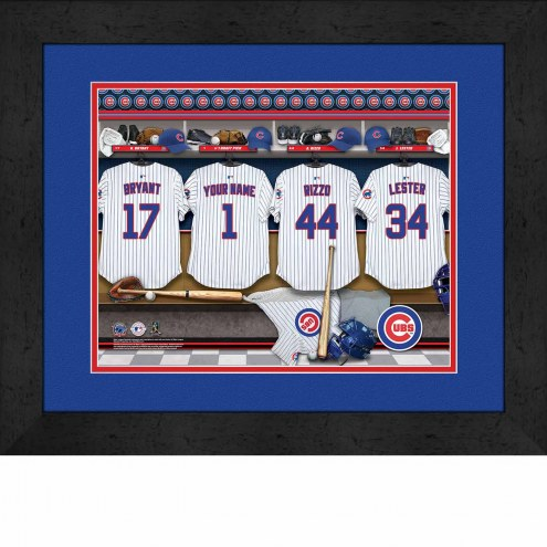 Chicago Cubs Personalized Locker Room 13 x 16 Framed Photograph