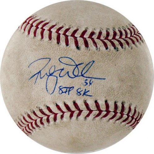 "Chicago Cubs Randy Wells Signed Marlins at Cubs 5-11-2010 Game Used Baseball w/ ""8 IP  8K"""