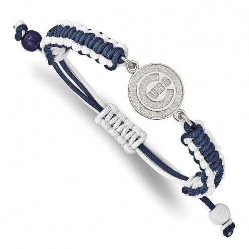 Chicago Cubs Stainless Steel Adjustable Cord Bracelet