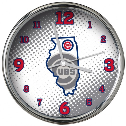 Chicago Cubs State of Mind Chrome Clock