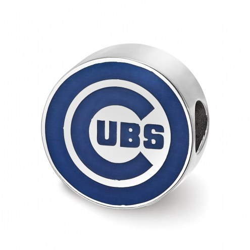 Chicago Cubs Sterling Silver Enameled Bead