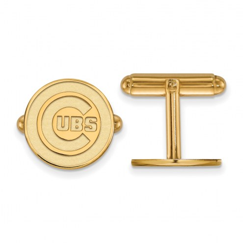 Chicago Cubs Sterling Silver Gold Plated Cuff Links