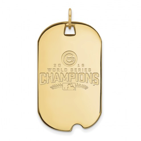 Chicago Cubs Sterling Silver Gold Plated Large Dog Tag