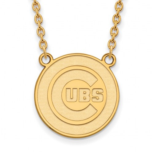Chicago Cubs Sterling Silver Gold Plated Large Pendant Necklace