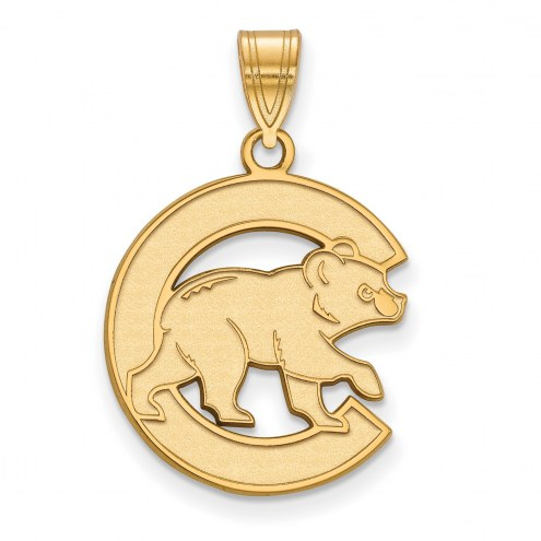 Chicago Cubs Sterling Silver Gold Plated Large Pendant