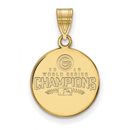 Chicago Cubs Sterling Silver Gold Plated Medium Disc Pendant
