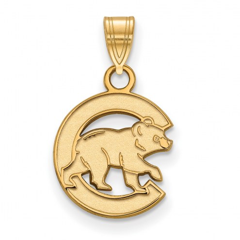 Chicago Cubs Sterling Silver Gold Plated Small Pendant
