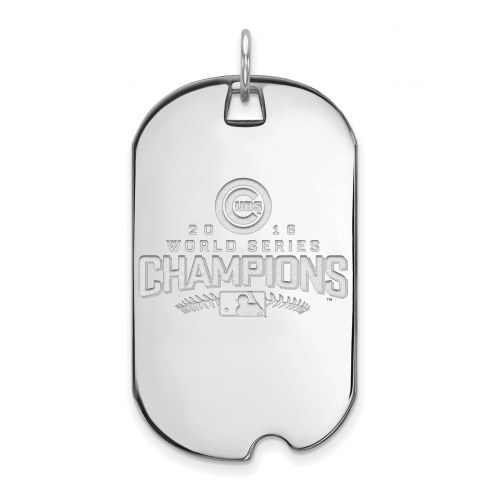 Chicago Cubs Sterling Silver Large Dog Tag