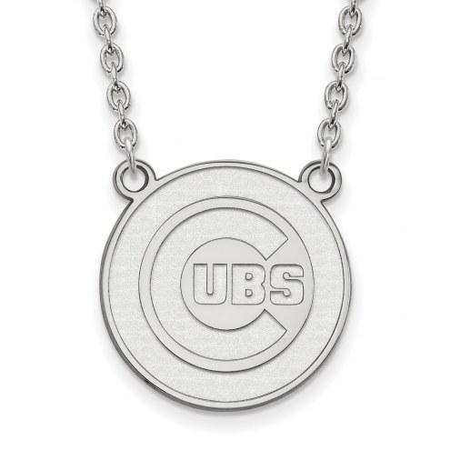 Chicago Cubs Sterling Silver Large Pendant Necklace