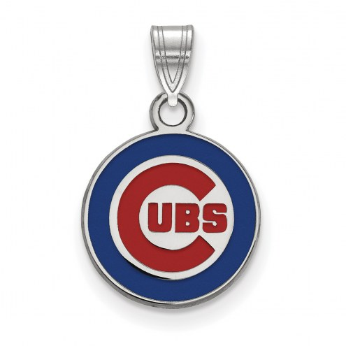 Chicago Cubs Sterling Silver Small Enameled Pendant