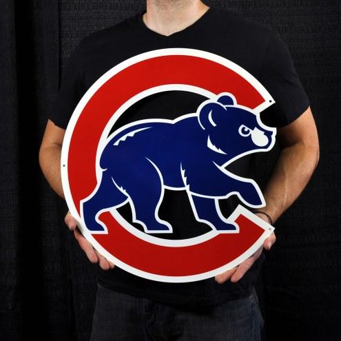 "Chicago Cubs Walking Bear 24"" Steel Logo Sign"