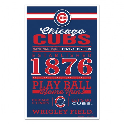 Chicago Cubs Established Wood Sign