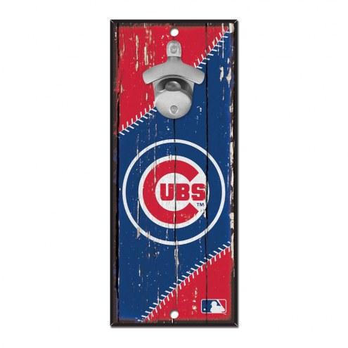 Chicago Cubs Wood Bottle Opener