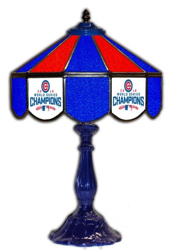 """Chicago Cubs 21"""" Glass Table Lamp"""