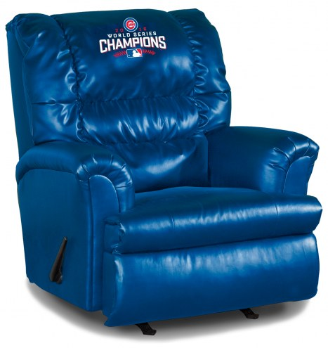 Chicago Cubs World Series Big Daddy Blue Leather Recliner