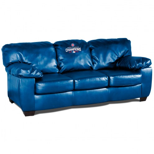 Chicago Cubs World Series Blue Leather Classic Sofa