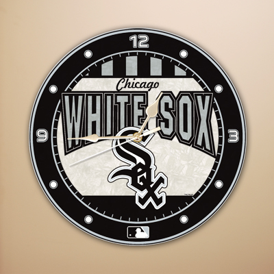 Chicago White Sox MLB Stained Glass Wall Clock