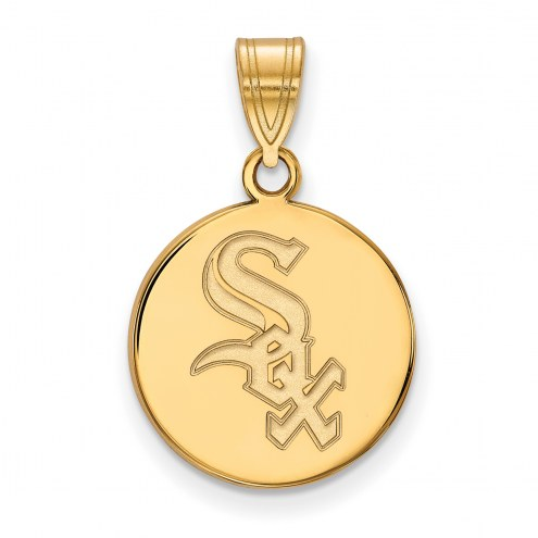 Chicago White Sox Sterling Silver Gold Plated Medium Disc Pendant