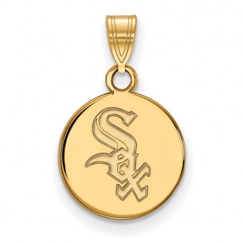 Chicago White Sox Sterling Silver Gold Plated Small Disc Pendant