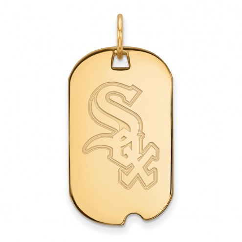 Chicago White Sox Sterling Silver Gold Plated Small Dog Tag