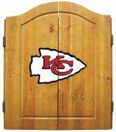 Kansas City Chiefs NFL Complete Dart Board Cabinet Set (w/darts & flights)