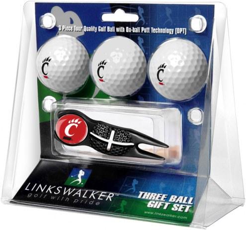 Cincinnati Bearcats Black Crosshair Divot Tool & 3 Golf Ball Gift Pack