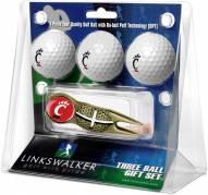 Cincinnati Bearcats Gold Crosshair Divot Tool & 3 Golf Ball Gift Pack