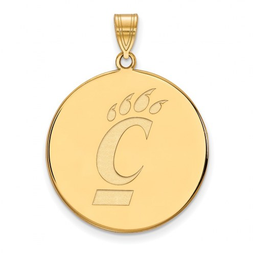 Cincinnati Bearcats Sterling Silver Gold Plated Extra Large Disc Pendant