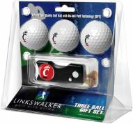 Cincinnati Bearcats Golf Ball Gift Pack with Spring Action Divot Tool