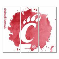 Cincinnati Bearcats Triptych Watercolor Canvas Wall Art