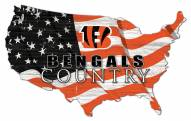 "Cincinnati Bengals 15"" USA Flag Cutout Sign"