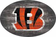 "Cincinnati Bengals 46"" Distressed Wood Oval Sign"