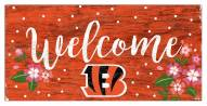 "Cincinnati Bengals 6"" x 12"" Floral Welcome Sign"
