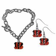 Cincinnati Bengals Chain Bracelet & Dangle Earring Set