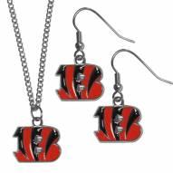 Cincinnati Bengals Dangle Earrings & Chain Necklace Set